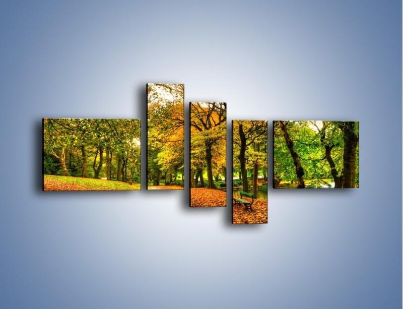 Obraz na płótnie – Piękna jesień w parku – pięcioczęściowy KN1098AW5