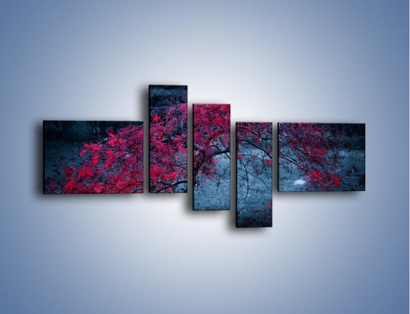 Obraz na płótnie – Czerwone płaczące drzewo – pięcioczęściowy KN1101AW5