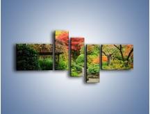 Obraz na płótnie – Alejka między kolorowymi drzewami – pięcioczęściowy KN1113W5