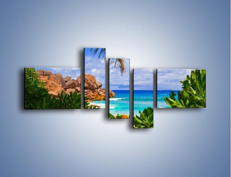 Obraz na płótnie – Urlop pod palmami – pięcioczęściowy KN1191AW5