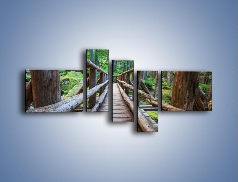 Obraz na płótnie – Mostek z drewnianych bali – pięcioczęściowy KN1207AW5