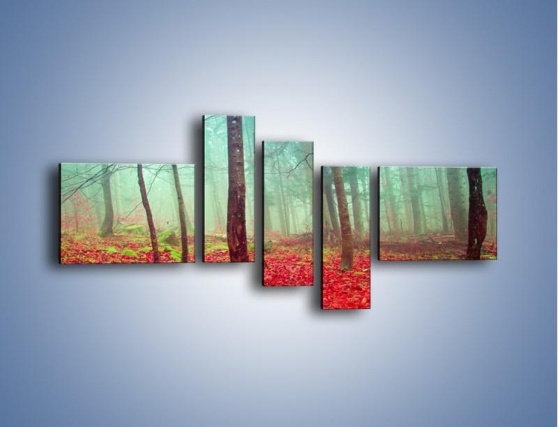 Obraz na płótnie – Drzewka na czerwonym dywanie – pięcioczęściowy KN1222AW5