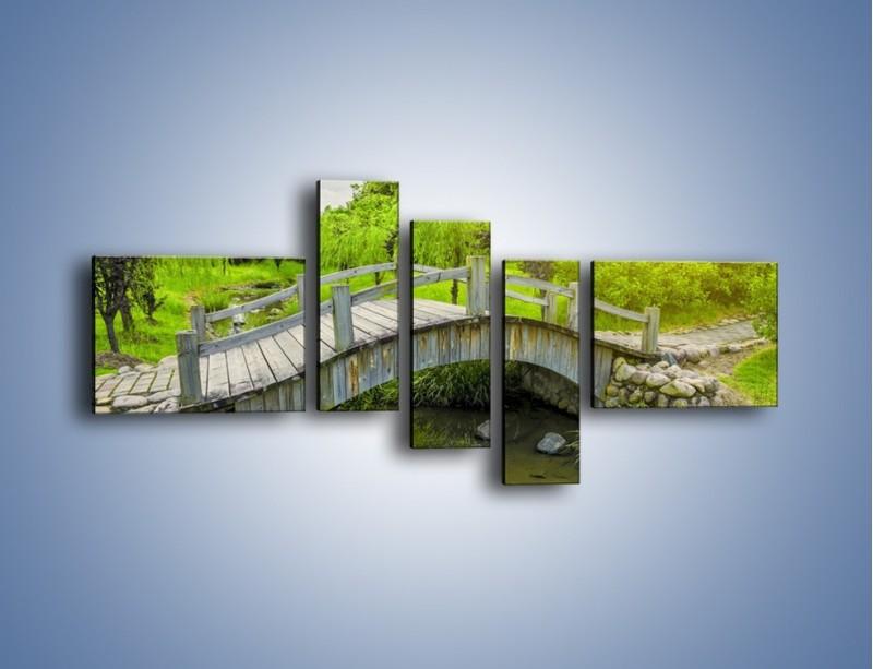 Obraz na płótnie – Mały mostek przez rzeczkę – pięcioczęściowy KN1254AW5