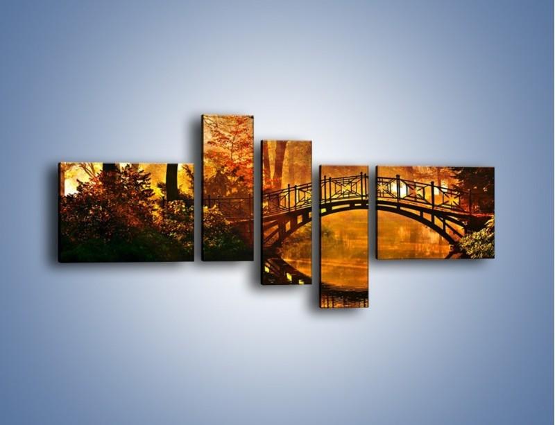 Obraz na płótnie – Cudowny spacer jesienną porą – pięcioczęściowy KN1319AW5