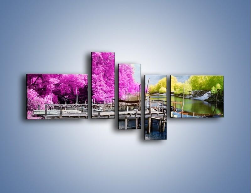 Obraz na płótnie – Wyraźne kolory w szarym tle – pięcioczęściowy KN1334AW5