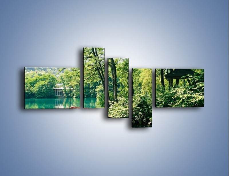 Obraz na płótnie – Wakacje nad jeziorem – pięcioczęściowy KN155W5