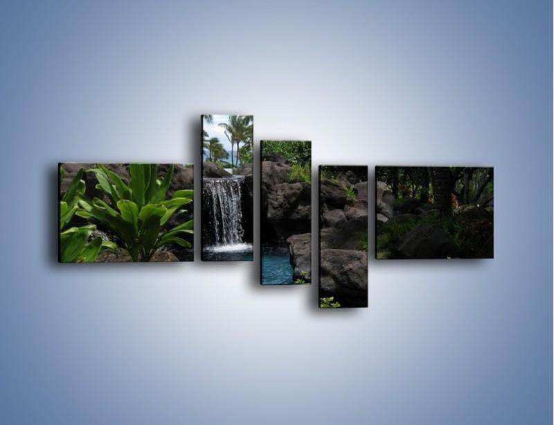 Obraz na płótnie – Wodospad wśród palm – pięcioczęściowy KN208W5