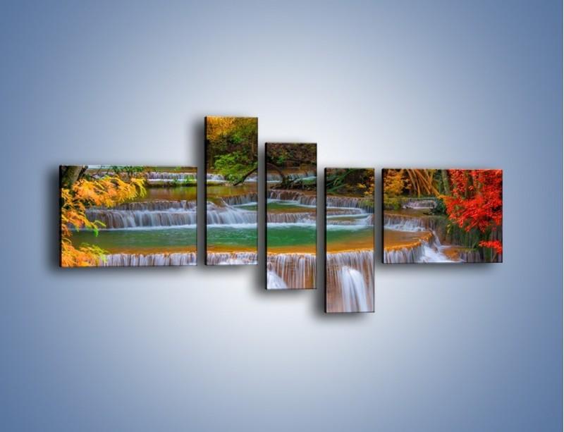 Obraz na płótnie – Schodki z wodospadów – pięcioczęściowy KN287W5