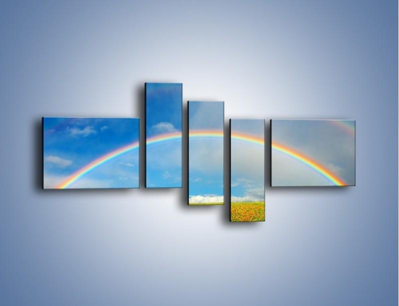 Obraz na płótnie – Urok kolorowej tęczy – pięcioczęściowy KN406W5