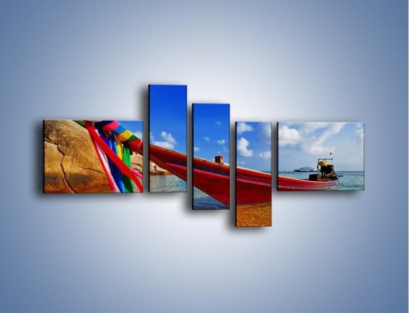 Obraz na płótnie – Kolorowa łódź na brzegu – pięcioczęściowy KN415W5