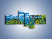 Obraz na płótnie – Bordowe kwiaty w górskim krajobrazie – pięcioczęściowy KN561W5