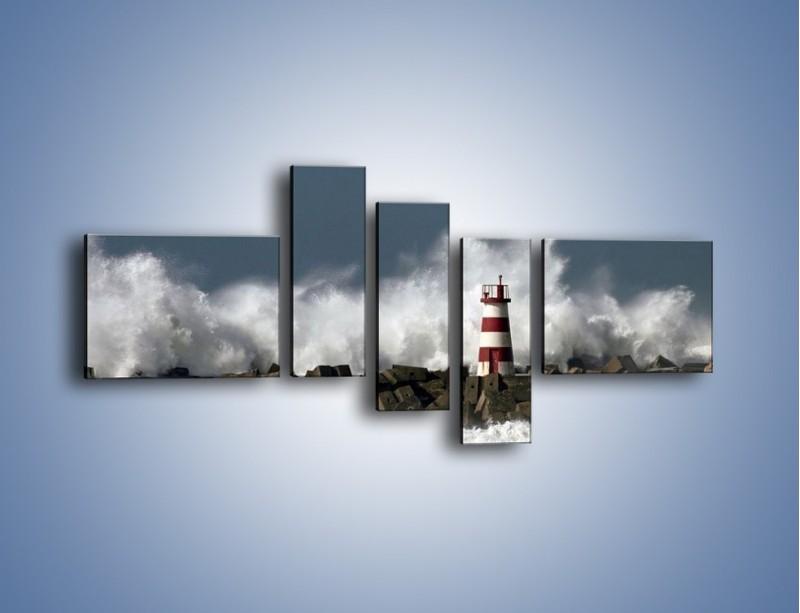 Obraz na płótnie – Latarnia morska w sztormie – pięcioczęściowy KN626W5