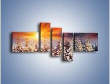 Obraz na płótnie – Choinki w środku zimy – pięcioczęściowy KN682W5