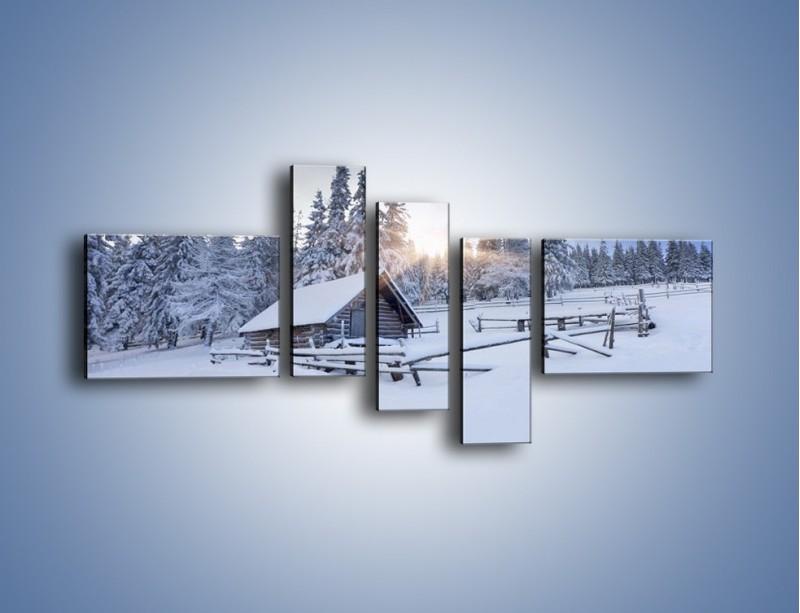 Obraz na płótnie – Chatka zatopiona w śniegu – pięcioczęściowy KN696W5
