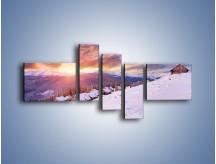 Obraz na płótnie – Chatka w śnieżnym dywanie – pięcioczęściowy KN725W5