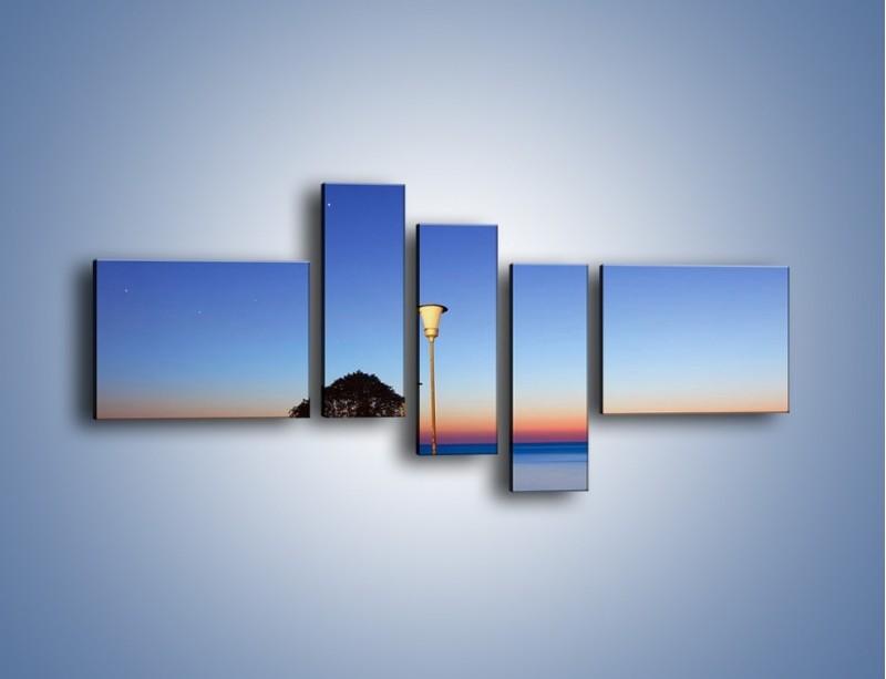 Obraz na płótnie – Wieczorny spacer po tafli morza – pięcioczęściowy KN759W5