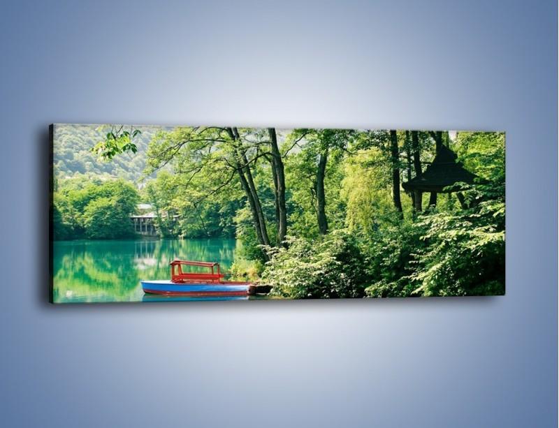 Obraz na płótnie – Wakacje nad jeziorem – jednoczęściowy panoramiczny KN155