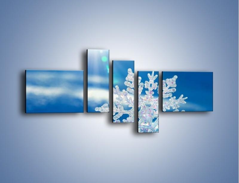 Obraz na płótnie – Diamentowa śnieżynka – pięcioczęściowy KN808W5