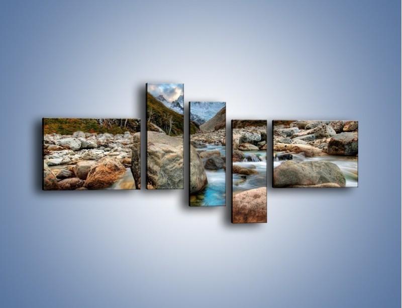 Obraz na płótnie – Niebezpieczny spacer po mokrych kamieniach – pięcioczęściowy KN810W5