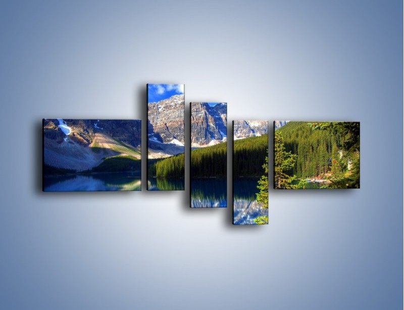Obraz na płótnie – Góry i ich wodne odbicie – pięcioczęściowy KN839W5