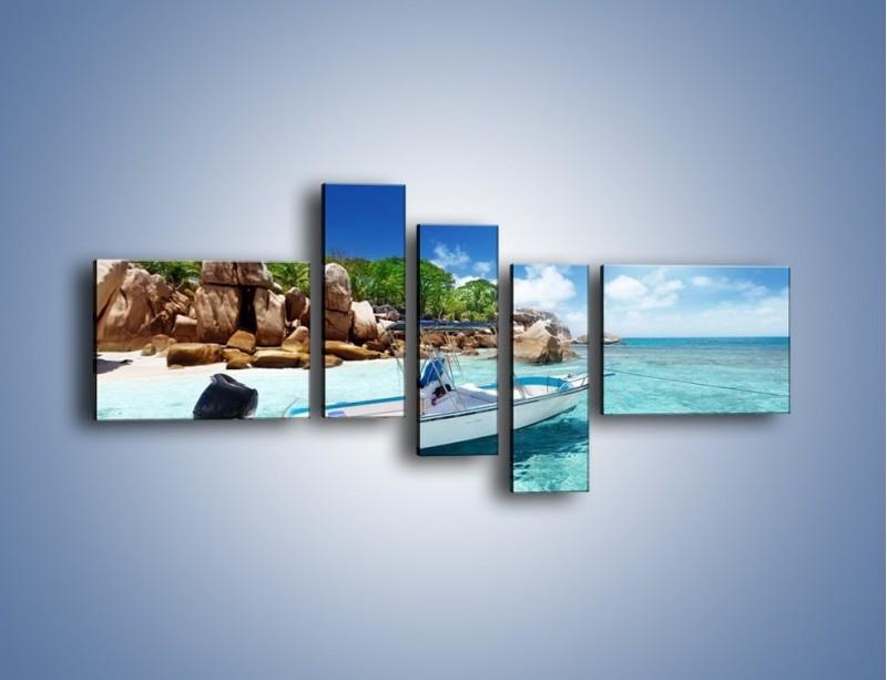 Obraz na płótnie – Błękit w wodzie i niebie – pięcioczęściowy KN852W5