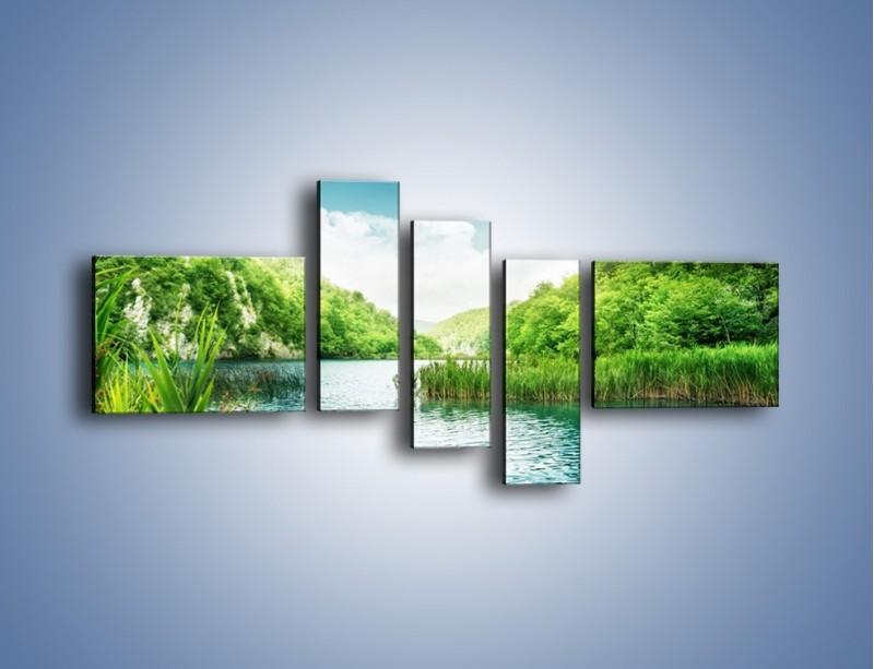 Obraz na płótnie – Wodnym śladem wśród zieleni – pięcioczęściowy KN884W5