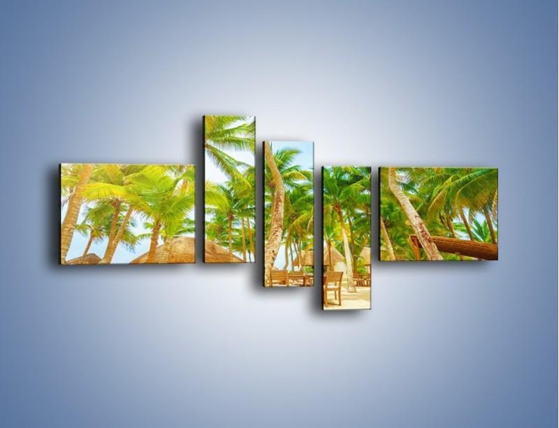 Obraz na płótnie – Słoneczna sjesta pod palmami – pięcioczęściowy KN886W5