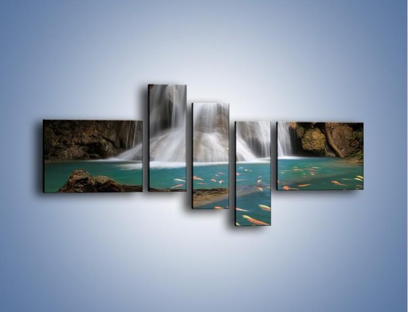 Obraz na płótnie – Wodospad i kolorowe rybki – pięcioczęściowy KN994W5