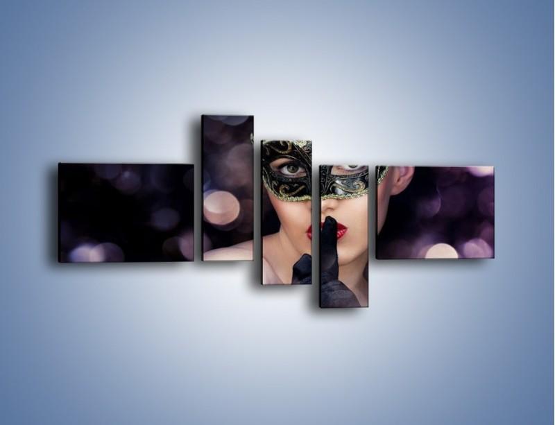 Obraz na płótnie – Dziewczyna w czarnej masce – pięcioczęściowy L030W5