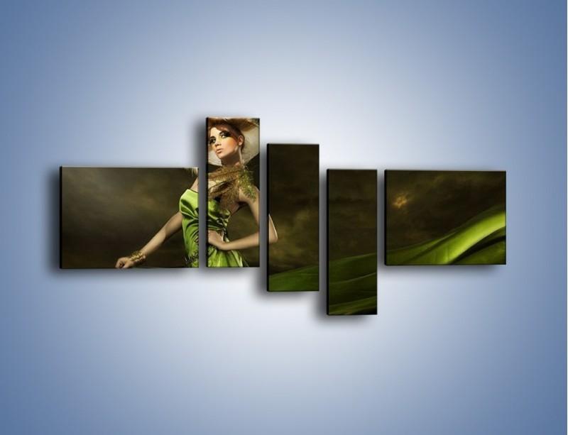 Obraz na płótnie – Kobieta ubrana w zieleń – pięcioczęściowy L098W5