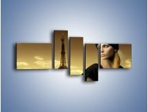 Obraz na płótnie – Czarna dama w paryżu – pięcioczęściowy L114W5