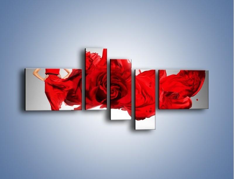 Obraz na płótnie – Czerwona róża i kobieta – pięcioczęściowy L144W5