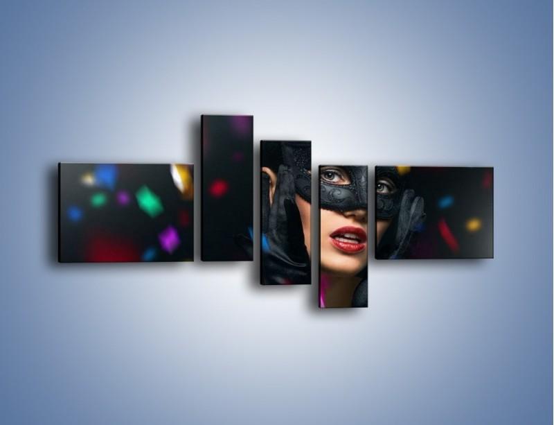 Obraz na płótnie – Bal w czarnych maskach – pięcioczęściowy L177W5