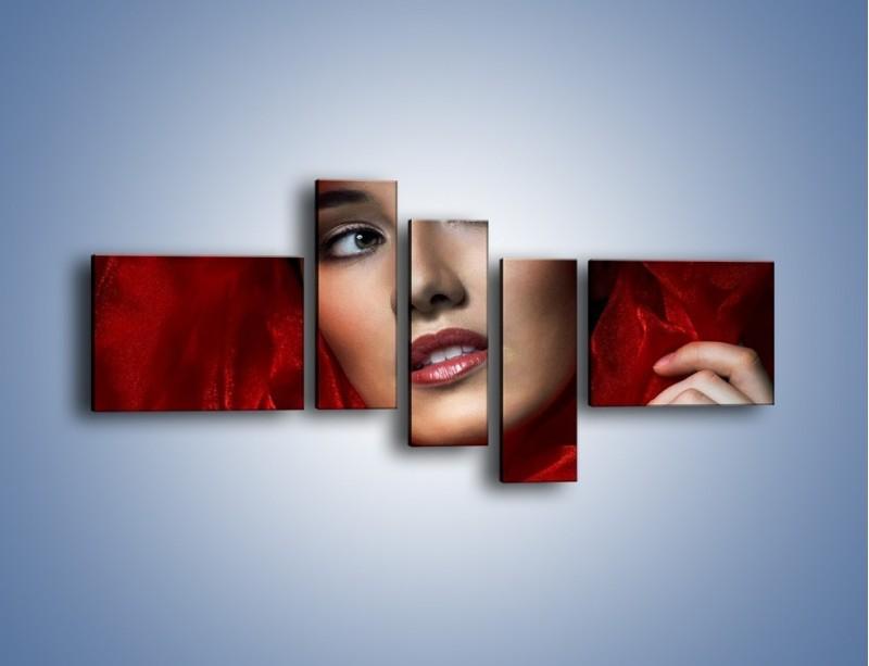 Obraz na płótnie – Kobieta w czerwieni – pięcioczęściowy L187W5