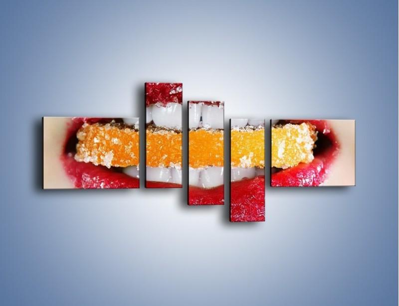 Obraz na płótnie – Cytrusy w słodkich ustach – pięcioczęściowy L207W5