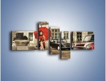Obraz na płótnie – Damski świat z dodatkiem czerwonego – pięcioczęściowy L242W5