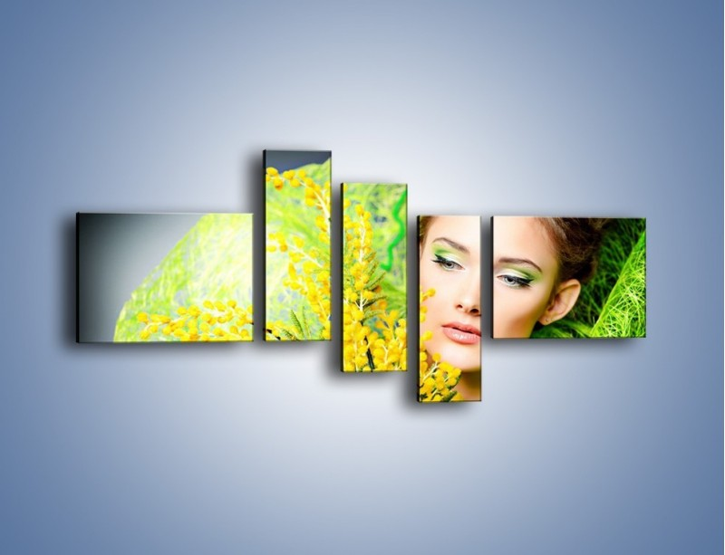 Obraz na płótnie – Kobieta w wiosennym wydaniu – pięcioczęściowy L335W5