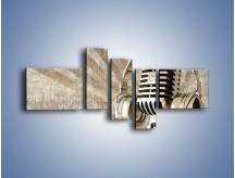 Obraz na płótnie – Głos w srebrnym mikrofonie – pięcioczęściowy O026W5