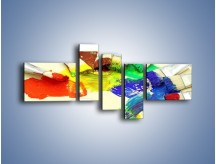 Obraz na płótnie – Kolory pędzlem malowane – pięcioczęściowy O046W5