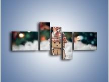 Obraz na płótnie – Mały ludek zimową porą – pięcioczęściowy O166W5