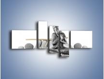 Obraz na płótnie – Budda wśród szarości – pięcioczęściowy O220W5