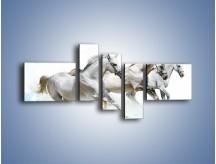 Obraz na płótnie – Końskie trio w zimowym pędzie – pięcioczęściowy Z063W5