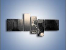 Obraz na płótnie – Jeleń w sepii – pięcioczęściowy Z250W5
