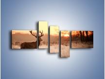 Obraz na płótnie – Jeleń szukający sarny – pięcioczęściowy Z306W5