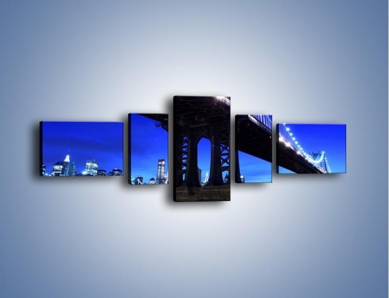 Obraz na płótnie – Oświetlony most wieczorem – pięcioczęściowy AM003W6