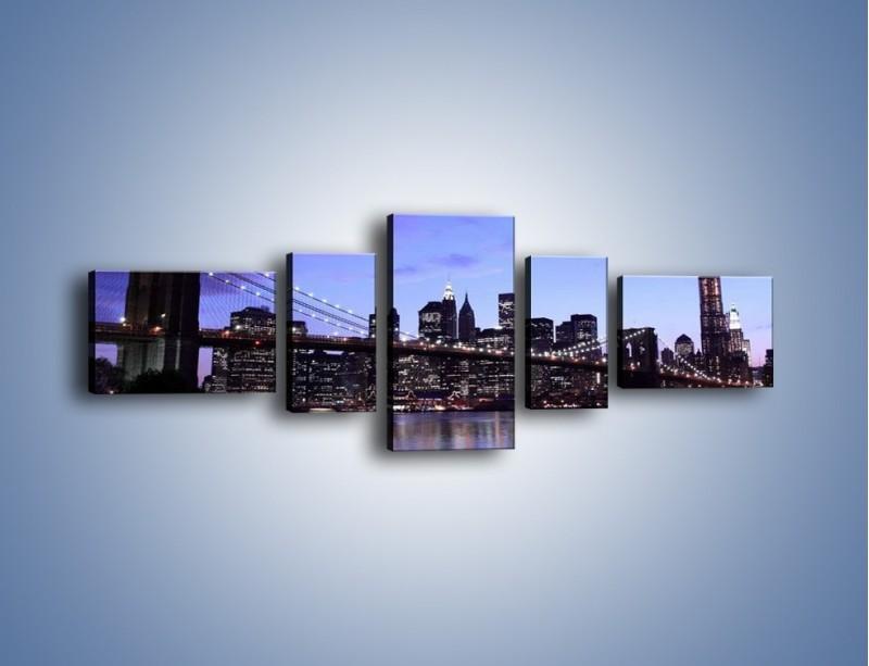 Obraz na płótnie – Most Brookliński przed zmierzchem – pięcioczęściowy AM016W6