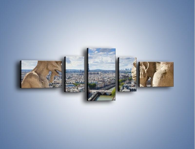 Obraz na płótnie – Kamienne gargulce nad Paryżem – pięcioczęściowy AM037W6