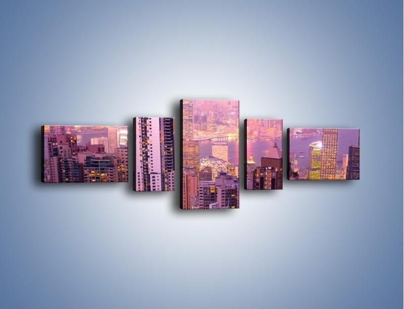 Obraz na płótnie – Duże miasto budzące się o poranku do życia – pięcioczęściowy AM062W6