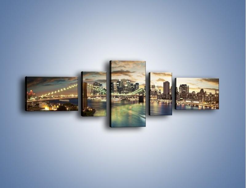 Obraz na płótnie – Oświetlony most w Nowym Jorku – pięcioczęściowy AM066W6