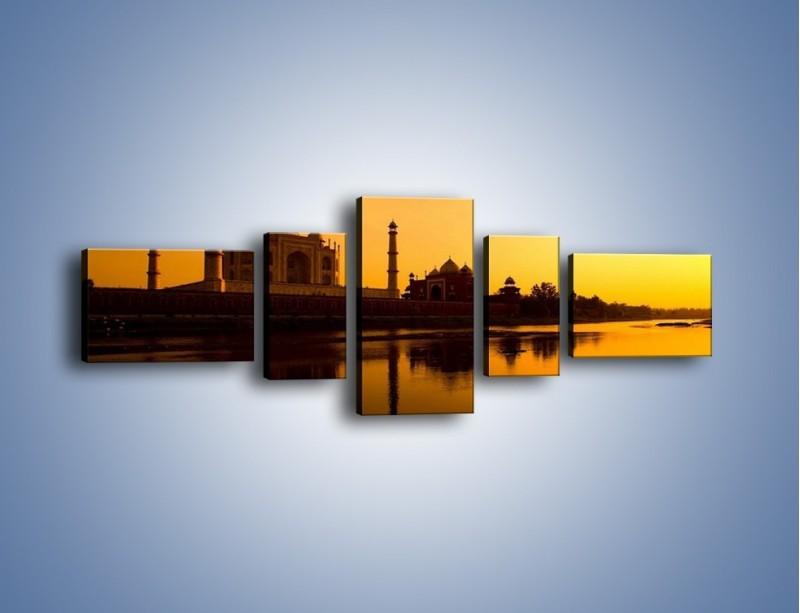 Obraz na płótnie – Taj Mahal o zachodzie słońca – pięcioczęściowy AM075W6